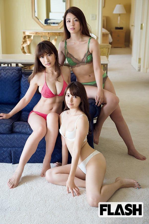 熊田曜子(赤い水着)祥子(緑)璃子(白)