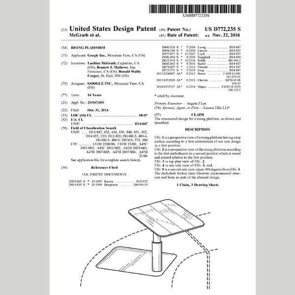 『グーグルが取得したスタンディング・デスクの特許公報』
