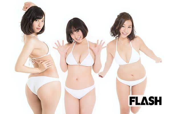 『左から由香クン、紗綾クン、彩香クン』