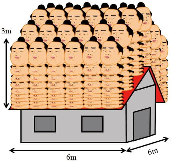 3m積もった豪雪は「屋根に324人の力士がいる」のと同じ重さ