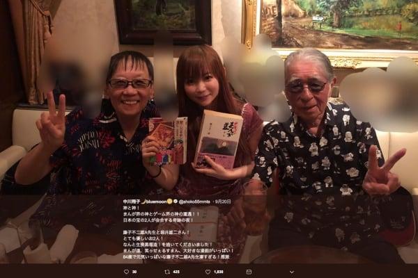 中川翔子が藤子不二雄A、堀井雄二と3ショット公開「神と神!」