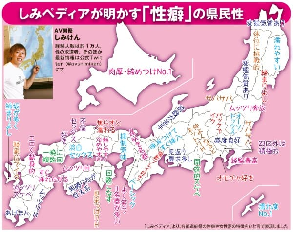 しみけん「1万人とやってわかった『名器』は沖縄と北海道」