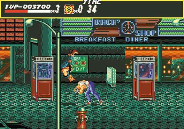 「ベア・ナックル 怒りの鉄拳」(1991年)メガドライブ メガドライブオリジナルの、横スクロール格闘アクションゲームで、続編も発売された。パンチ・キック・投げ技などを駆使し、街の悪党を倒していく。2人同時プレイも可能(写真提供・セガゲームス)