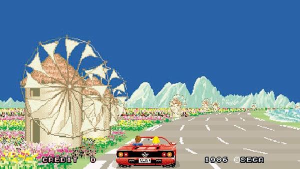 「アウトラン」(1991年)メガドライブ 流れていく絶景の中を、スポーツカーで疾走していく、3Dドライブゲーム。アーケード版からの移植作。FM音源を駆使した美しいサウンドが、ゲームの大きな特徴になっている(写真提供・セガゲームス)
