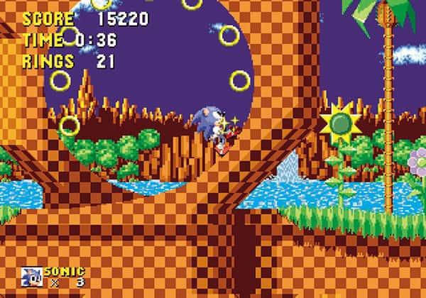 「ソニック・ザ・ヘッジホッグ」(1991年)メガドライブ 高速で走り、跳躍するハリネズミの「ソニック」を操作する横スクロールアクションゲーム。他社のアクションゲームでは見られなかった、超高速のキャラクター移動が話題に(写真提供・セガゲームス)