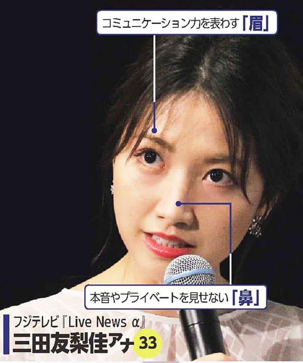 人気女子アナ「人相診断」フジテレビ・三田友梨佳