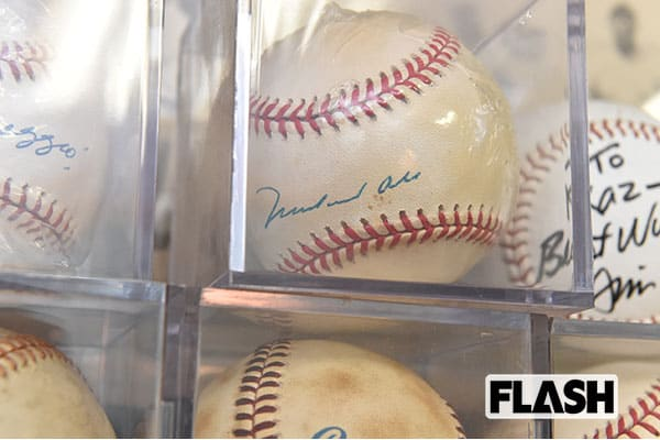 このサインボールも佐山氏のお気に入りのひとつ。なんと元ボクシング世界王者の故モハメド・アリのサイン。 「インタビューしたときにもらったんだけど、野球ボールにサインをしているなんて珍しいでしょう(笑)」(佐山氏)写真・谷本潤一
