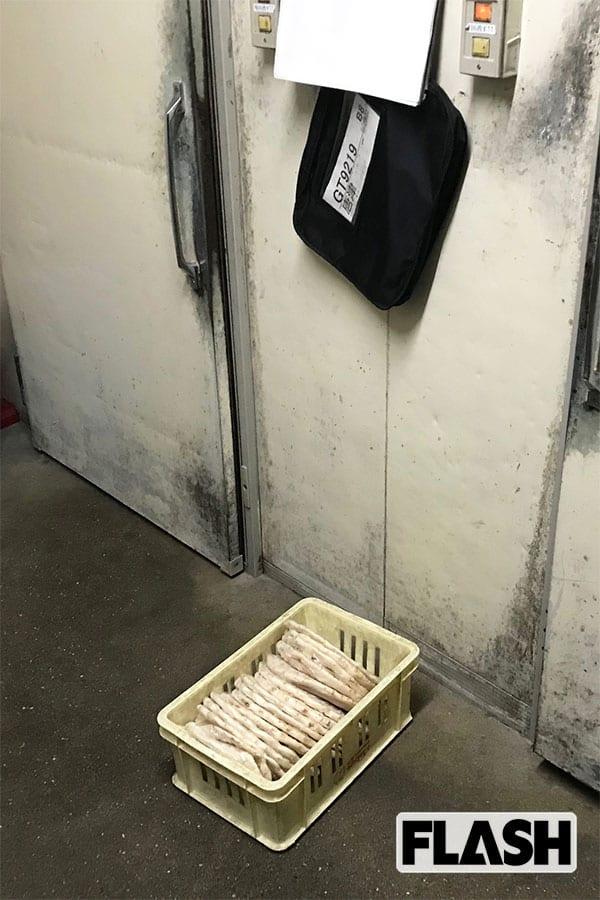 バックヤードのドアの前の地面に直で無造作に置かれ、自然解凍されている冷凍ピザ。それを入れたケース自体にも汚れが目立つ
